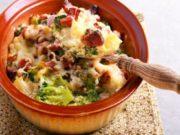Brócoli con patatas y jamón gratinados